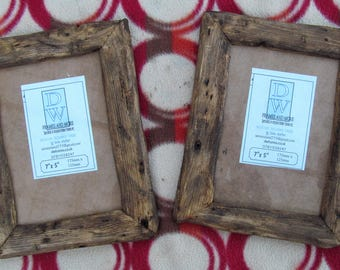 """SALE PRICED Rustic/driftwood style frames. A pair in recycled pine with medium dark beeswax finish.To fit 7""""x5"""""""