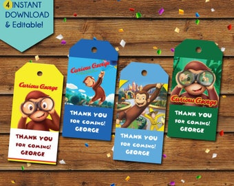 Curious George Thank You Tags,  Curious George Party Favors, Curious George Birthday Tags, Curious George favor tags, party tags, gift tags
