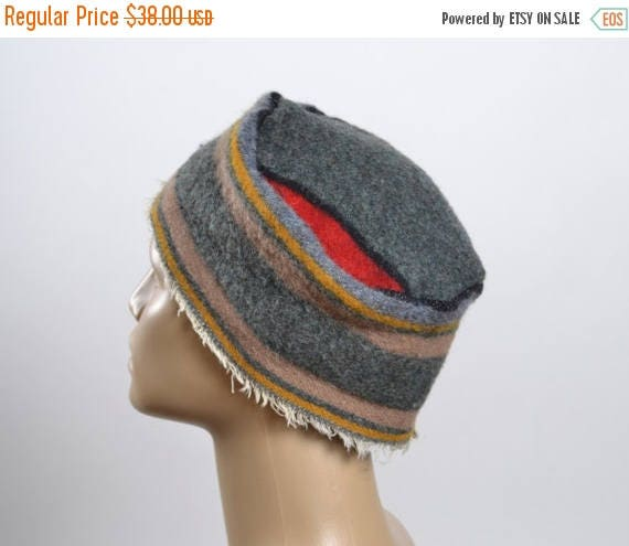 ON SALE Upcycled Wool Hat - Women's Winter Hats - Woman Wool Hats - Southwest - Tribal - Winter Hats - Striped - Hats