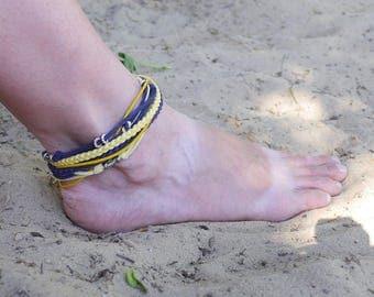 Ankle Bracelet, Navy blue Yellow boho Ankle Bracelet, Beach Jewelry, Ocean Inspired, Summer Jewelry, Women Ankle Bracelet