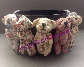 Teddy Bear Bangle Bracelet, upcycled bangle, OOAK, flower bear, Teddy Bears, made in Greece