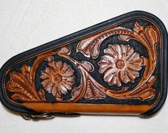 IN STOCK Leather Pistol Case with Hand Tooled Western Floral Pattern - Custom Pistol Case with Zippered Gusset