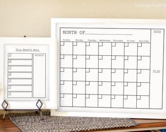 printed monthly calendar printed weekly menu dry erase calendar dry erase menu