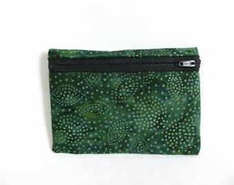 Medium Pouch- Forest green batik cotton