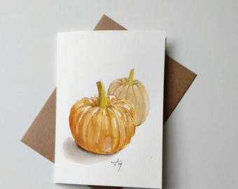 Original Watercolor Pumpkin Card/ Pumpkin Art/ Autum Card/ Fall Card
