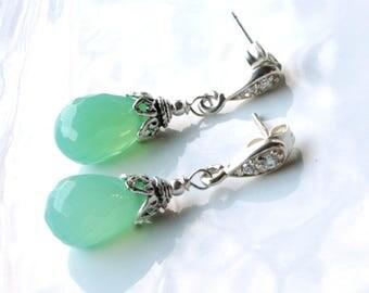Chrysoprase Earrings, Sterling Silver, mint green gemstone boho luxe earrings, cubic zirconia stud earrings, holiday gift for her, 4449