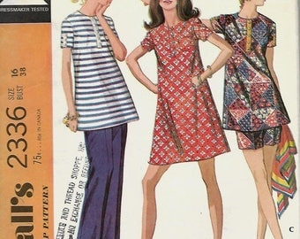 ON SALE McCall's 2336 Maternity Dress Or Top, Pants Or Shorts Sewing Pattern, Size 16, UNCUT