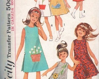 1960's Simplicity 5990 Girls One-Piece Dress Pattern, Transfer Included, Size 10