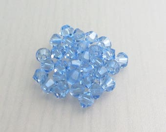 30 Light Sapphire 4mm Swarovski Crystal Beads, 4mm 5328 Xilion Bicone Crystals, Light Blue Crystal Beads, Bead Destash