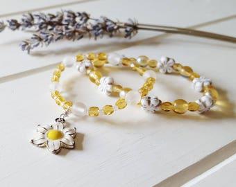 Greta - Daisy Yellow White Stretchy Bracelet Set, Ready to Ship