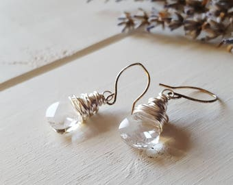Ruth - Crystal Clear Drop Earrings, Ready to Ship