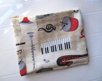 Small clutch bag Cosmetic case with Music instruments