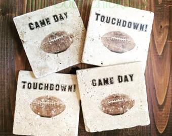 Football Tumbled Marble Coasters