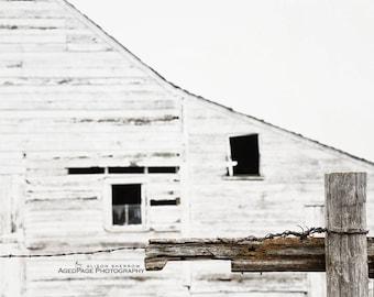 White Barn Art, Modern Farmhouse Decor, Neutral Wall Art, Rustic Home Decor, Barn Photography, Farm Art   'Broken Fence'