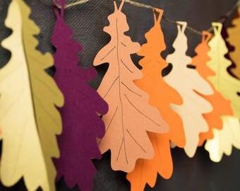 Luxury Oak Leaf Garland - Fall Wedding - Woodland Wedding - Rustic Autumn Decorations - Thanksgiving Garland - Mantle Garland - Fall Garland