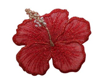 ID 6727 Red Hibiscus Flower Patch Tropical Plant Embroidered Iron On Applique