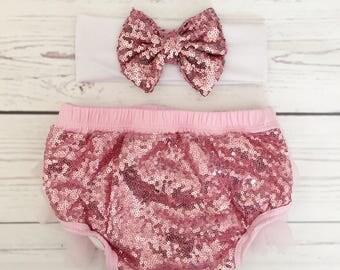 Baby girls tutu bloomers headband set-pink tutu bloomers 1st birthday-1st birthday cake smash outfit-baby girl clothes-bow headband
