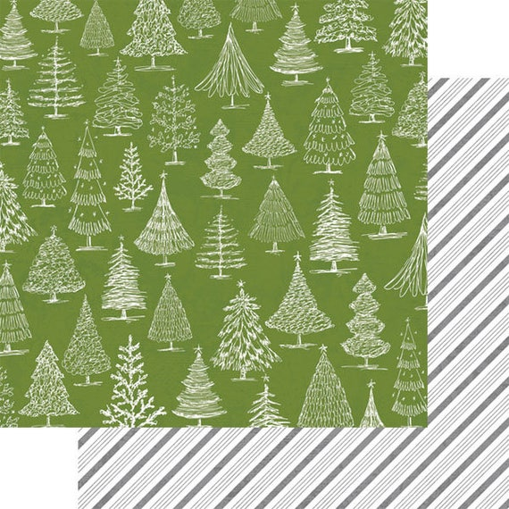 4 Scrapbook Paper / O Christmas Tree / Double Sided 12 x 12 in Sheets /Teresa Collins / Candy Cane Lane Collection