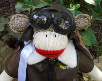 Pilot/Airman/Aviator/Red Baron Brown Sock Monkey Doll