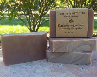 Rosehip & Meadowfoam Facial Soap for Dry Skin, Organic, Vegan, All Natural