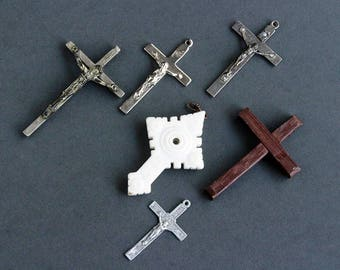 Vintage Crosses Lot, Used Religious De-stash with Patina, Imperfections and Wear Present