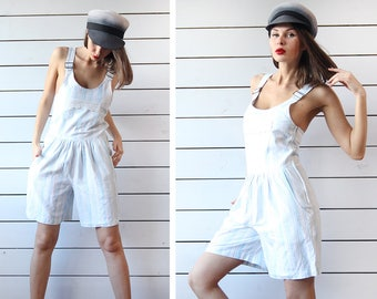 90s Vintage blue white striped linen cotton pinafore shorts one piece overalls romper jumpsuit playsuit S