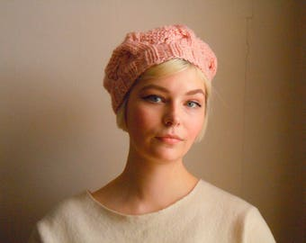 Chunky wool beret - Cherry blossom