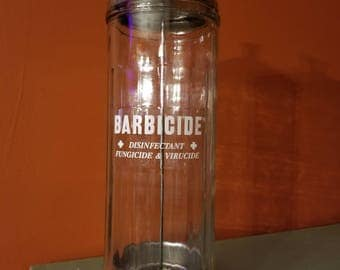 Classic Circa 1950's Vintage Barber Shop King's Barbicide Brand Germicide Advertising Comb Sterilizer Glass Jar with Lid Barbisol