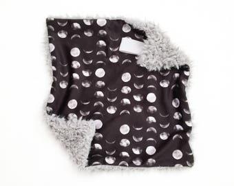 Lovey Moon Phases. Lovey. Black Lovey. Moon Lovey. Mini Baby Blanket. Security Blanket. Lovie. Minky Lovey.