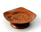 Vtg HANOVA of Pasadena 6x6x2 Footed Bowl Dish Rust Brown n Black Enamel Steel Round Square Mid Century Brutalist Lava Eames EX Cond USA Made