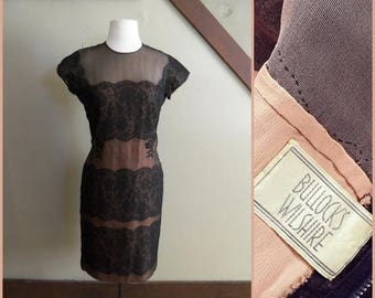 20% OFF / The Dark Silhouette 1950s Short Sleeve Black/Peach Lace Panel/Illusion Wiggle Dress with Floral Applique AS IS
