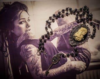 "Black cameo Rosary chaplet rose Calavera Skull ""Forever Love"""