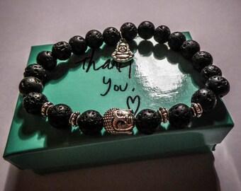 Bracelet black lava stone beads Buddha Tierracast MC Ink