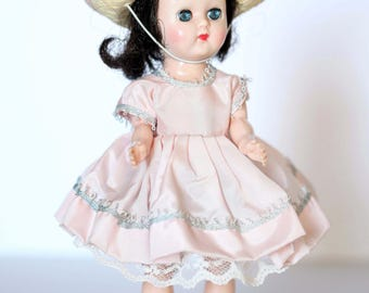 "Pretty in Pink - Vintage Little Girl Doll - 1950-60s Brunette Hair Doll - Sunbonnet Doll - Jointed 7.5"" Doll - Straw Hat Doll - Hard Plastic"