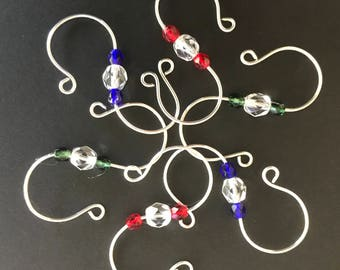 24 Silver Plated Sturdy S Ornament Hooks with Clear and Assorted Color Glass Crystal Accent