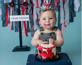 Boys first birthday, train birthday,  Party Hat, Photo prop banner, birthday body suit, in 2nd picture. Choose what you want.