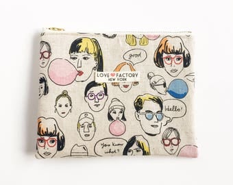 Kawaii fashion illustration pouch-hipster groovy funky teen girl pouch-pencil case-cosmetic pouch-cosmetic purse-love factory NY