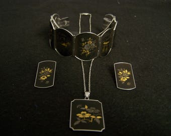 1950's Amita Damascene and Sterling Silver Matching Jewelry Set