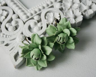 Soft green rose leather earrings