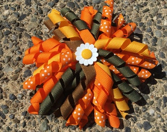 Hair Bow Clip - Orange, Dark Yellow, Dark Green and Brown Ribbon Korker / Corker Hair Clip with Large Flower Bead Accent