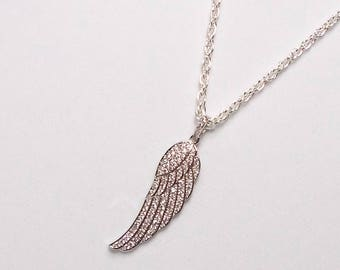 Angel Wing Necklace, Silver Angel Wing Necklace, Crystal Inset Wing Necklace, Wing Charm Pendant Necklace