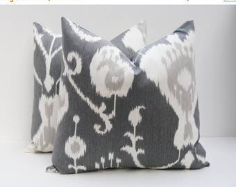 15% Off Sale Gray Pillow Cover, Decorative Pillow,  Ikat Pillow Cover  ,Grey Pillow,  Throw Pillow,  Cushion ,Gray pillows, Accent pillow, S