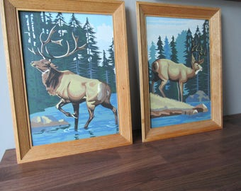 Set of 2 Vintage Paint By Number Framed Art, Wildlife Art, Deer, Buck, Masculine Home Decor