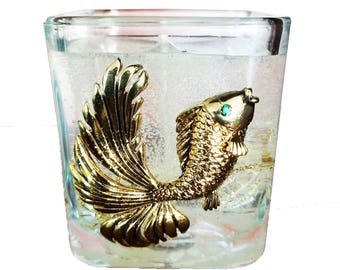 Gel Decorative GOLD FISH Ocean Theme Clear Candle Handmade Decoration