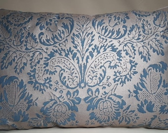 Fortuny Lumbar Throw Pillow Cushion Cover Solimena Slate Blue & Silvery Gold Pattern - Made in Italy