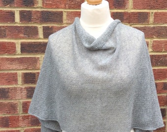 Pearl Grey Winter Wedding Shawl. Extra Large Textured  Knit Scarf.Travel Wrap shawl .  Evening dress  shawl.Mother of the groom Gift.