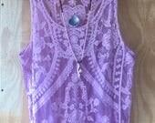 Crocheted Crochet Lace Fringe Top Bohemian Boho Hippie Gypsy Lavender Purple Coachella Burning Man Festival size M L Embroidered Embroidery