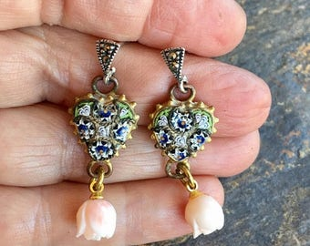 1stDayofSummerSALE Micro Mosaic Earrings 1920 1930 Vintage Bridal Heart Wedding Angel Coral Rose Marcasite Dangles Romantic