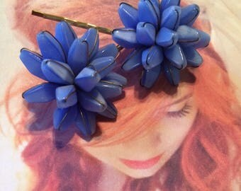 Periwinkle Blue Bridal Haskell Hair Pins Jewelry 1940 1950 Vintage Bridal West Germany Hyacinth