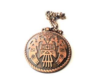 Vintage Southwest Bell Copper Pendant Necklace